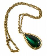 Vintage Green Rhinestone Teardrop Necklace By Miracle.